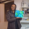 Niesha Thorne with her new painting 2010