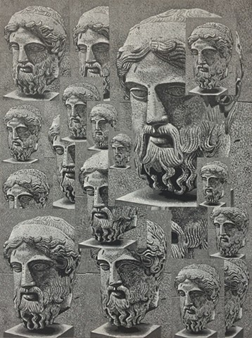 Overlapping Marble Heads from a Herm