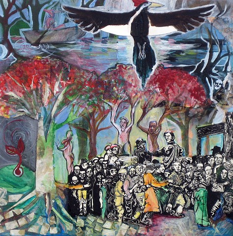 painting of abstract landscape with crowd of people, swamp, and Ivory-billed Woodpecker