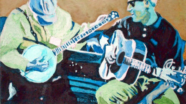 painting of two men playing banjo and guitar
