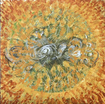 painting of sun with abstracted electromagnetic field