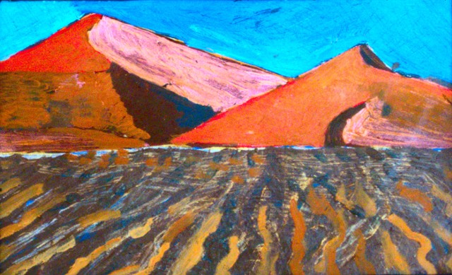 painting of landscape with sand dunes