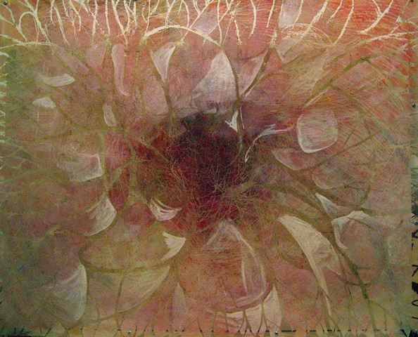 painting of an abstract sunspot on clear panel with map background