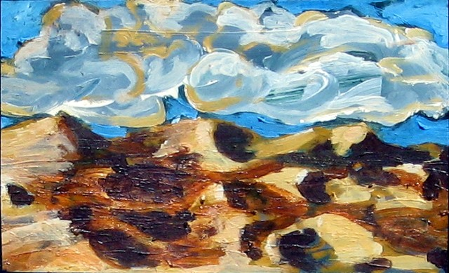 painting of a landscape with sand dunes and clouds