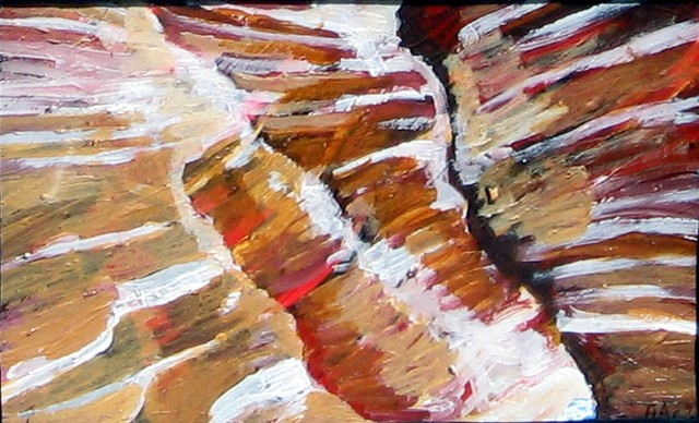 painting of a narrow sandstone canyon