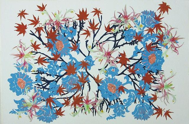 Kaleidoscopic Barrage of Nature (brocco branche amaryllis belladonna aceraceae palmatum)