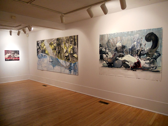 "Installation Shot of ""RedRing,"" ""FL Icy Ring"" and ""Tug O'War (Medusa)"" at Washington Art Association"