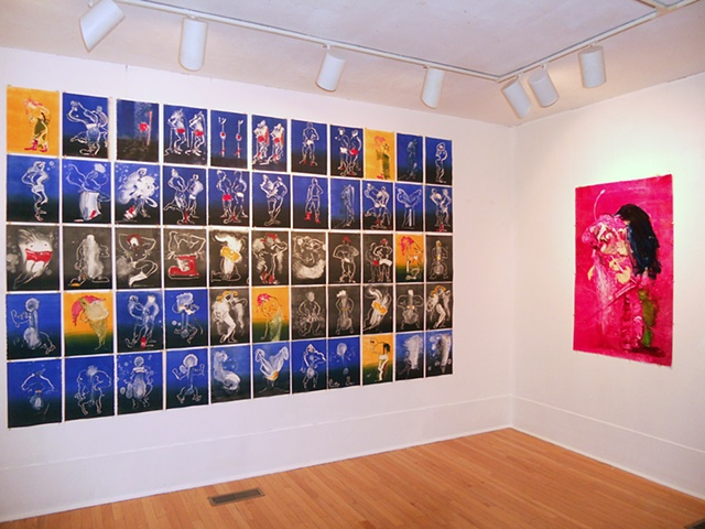 "Installation shot of ""PIN NIP"" and ""PIN NIP Fuchsia (Akira Woman)"" at Washington Art Association"