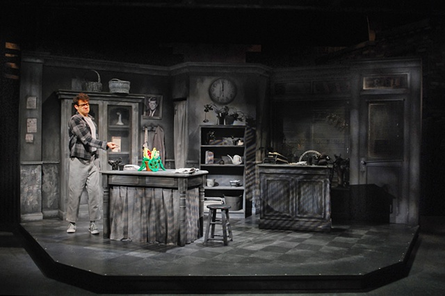 Brandon Joel Maier in Little Shop of Horrors at the Cygnet Theatre in Old Town.  Directed by Sean Murray, set design by Sean Fanning
