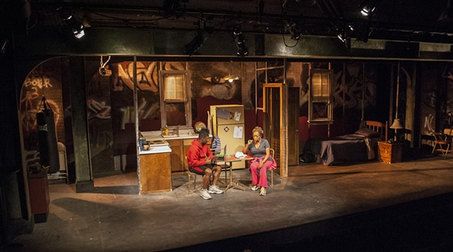 Brownsville Song (b-side for tray) by Kimber Lee at Moxie Theatre, directed by Delicia Turner Sonnenberg, Scenic Design by Sean Fanning
