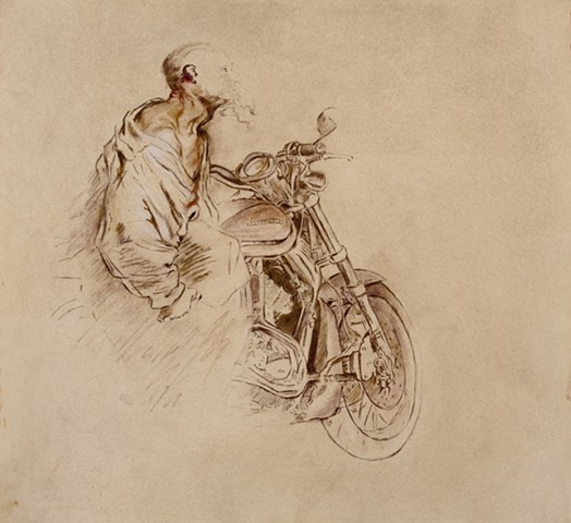 The Biker after Van Dyck's Old Bearded Man Carrying a Bundle