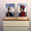 Frederico Da Montefeltro, Restored, 1998  oil on panels in white gold frames: 24.25 x 15 inches. Pedestal: 28.25 x 13.25 x 40.25 inches