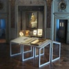 Le Violons d&#39;Ingres, Restored reflected in the glass case containing the violin of Ingres at the the Ingres Museum in Montauban (Louvre)