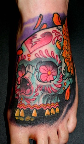 skull foot tattoos sugar skull footSkull Foot Tattoos