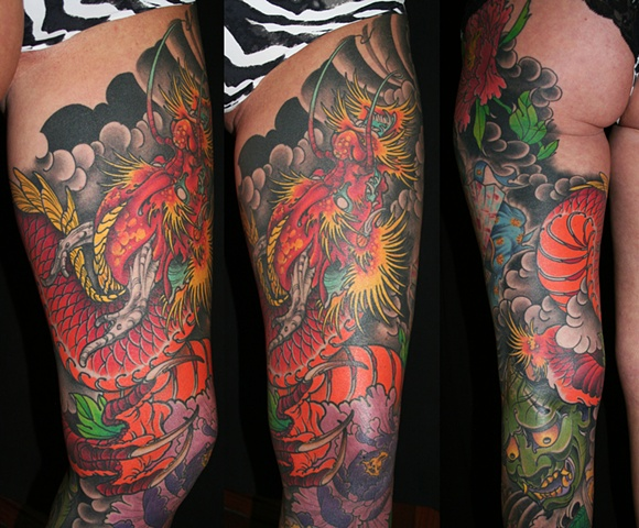 Deadly tattoos inc for Dragon tattoos on thigh