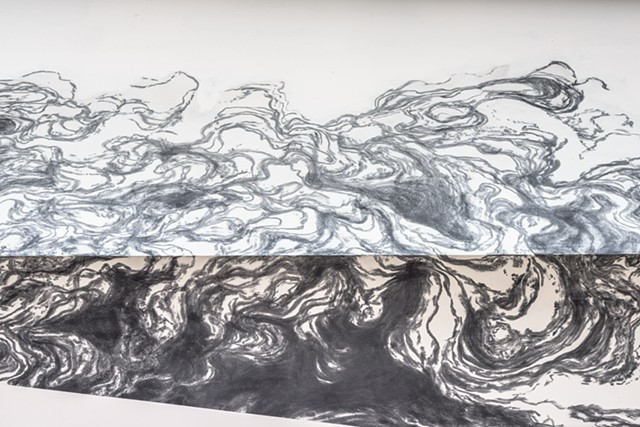 Terminal Flux site-specific graphite drawing by John M. Adams abstract water flow perspective