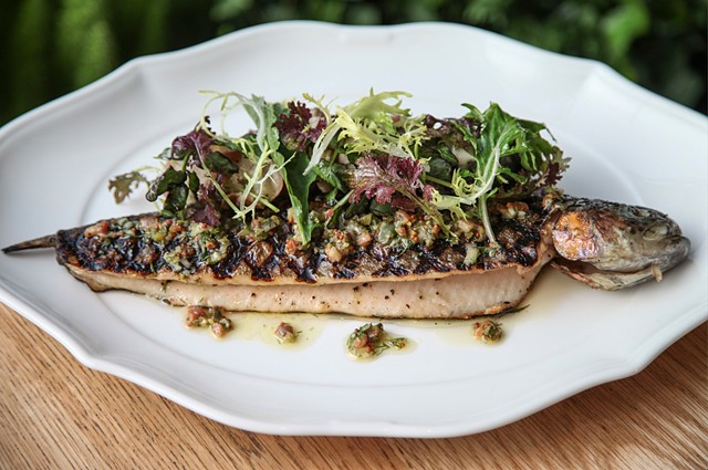 Pennsylvania Trout with Crushed Yukons and Bacon-Dill Vinaigrette