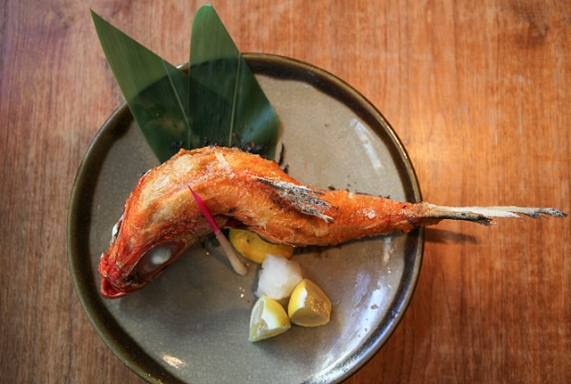 Grilled Pole-and-Fish Line Kinme-dai (Golden Eye Snapper) Finished with Sea Salt