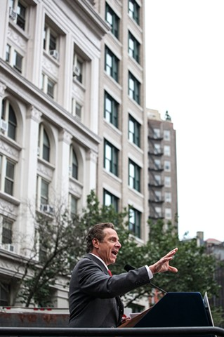 Governor Andrew Cuomo speaks to protestors at a rally in support of the victims of the Orlando nightclub shootings at The Stonewall Inn in New York on June 12, 2016.