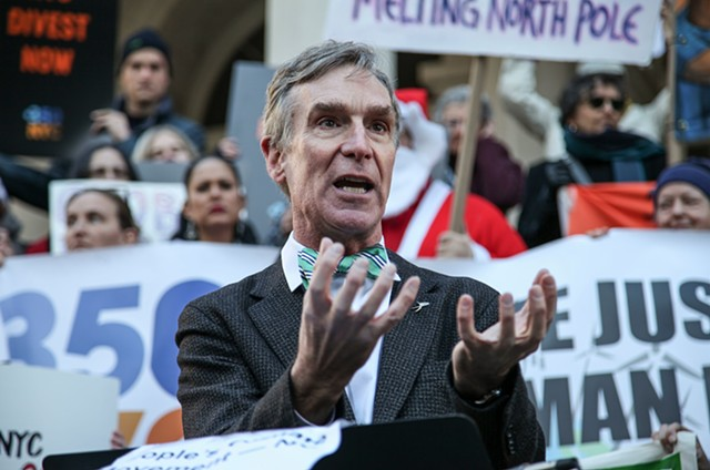 Bill Nye speaks at a press conference at Manhattan's City Hall in support of NYC's participation of the Global Climate March on November 29, 2015.
