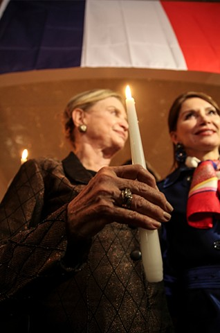 Congresswoman Carolyn Maloney and philanthropist Jean Shafiroff speak out in support of those injured and killed in the Paris terrorist attacks at Vin Sur Vingt, a French restaurant in Manhattan's NoMad neighborhood, on November 13, 2015.