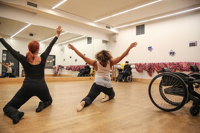 Dancers Kitty Lunn and Alice Sheppard, who use dance to help with the symptoms of Paralysis, rehearse for an upcoming show at Oregon's Shakespeare Festival on June 30, 2015. Lunn is a longtime and vocal support behind the American Disabilities Act.