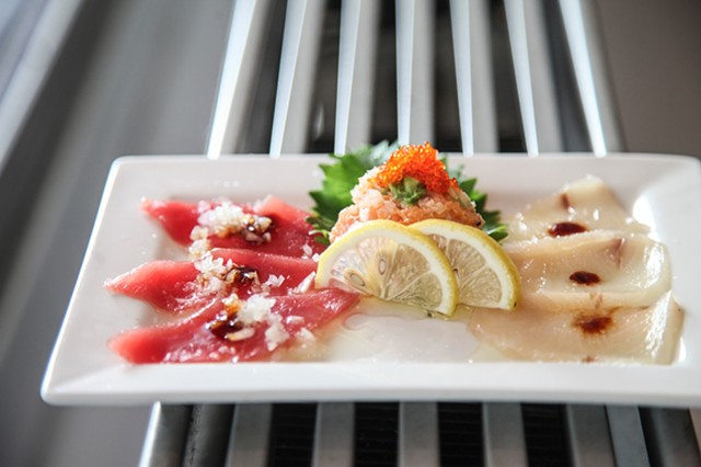 Tuna and Yellowtail Carpaccio with Salmon Tartare