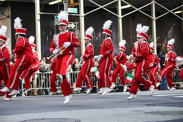 A marching band performs in the Columbus Day Parade on October 12, 2015, which celebrates both Christopher Columbus as well as Italian-Americans' contributions to the U.S.