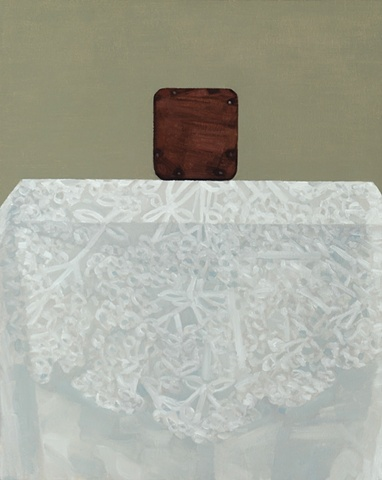 A still life painting of a wooden box on a table with white table cloth