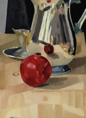 A still life painting of a pomegranate on a table with metal pitcher