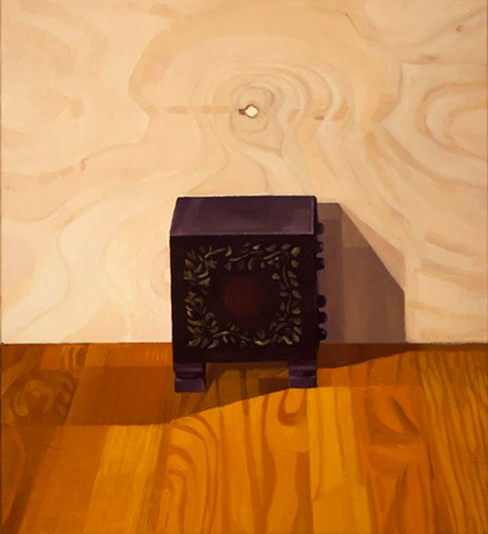 A still life painting of a wooden jewelry box viewed from the side on a wood table with plywood background