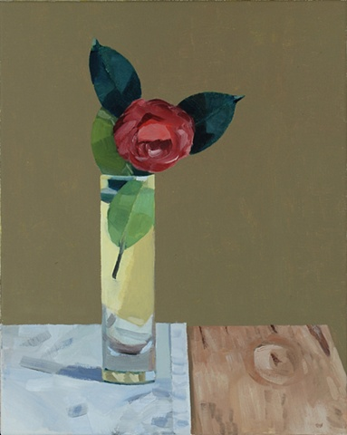 Camellia in Tall Glass Vase