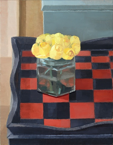 Yellow Flowers on Black and Red Checkered Table