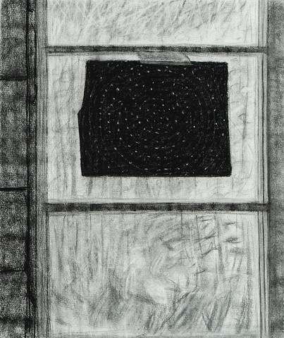 Black Paper in Window (Drawing)