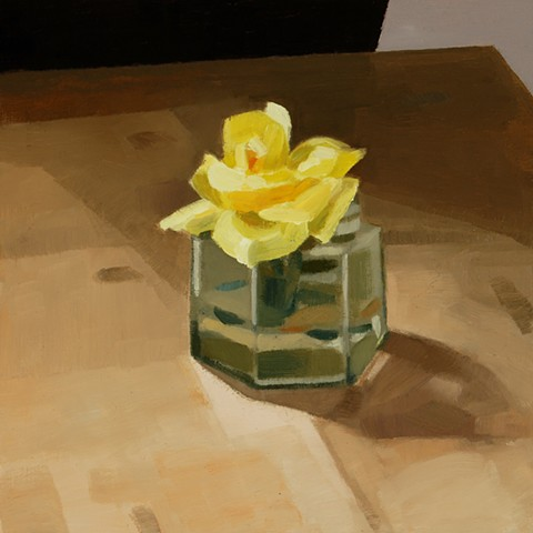 Yellow Rosebud in Small Jar