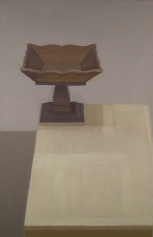 Still life painting of a wooden object on a table