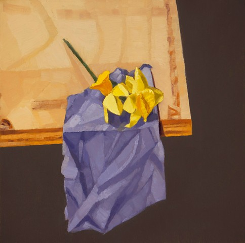 a still life painting of daffodils on a purple cloth on wood table