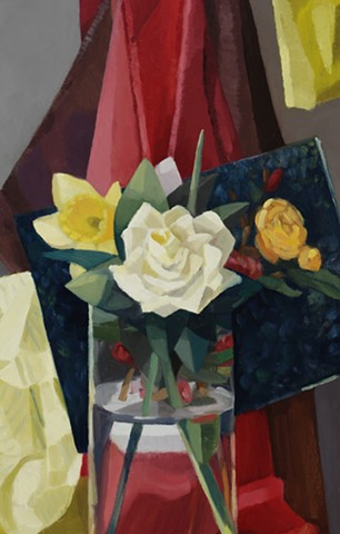 White Rose and Daffodil - Detail