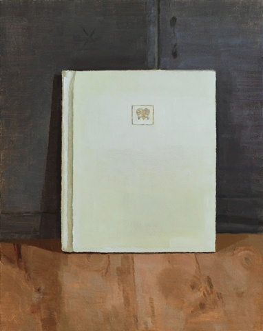 A still life painting of a book on a wood table