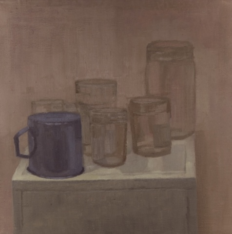 Glass Jars and Blue Cup