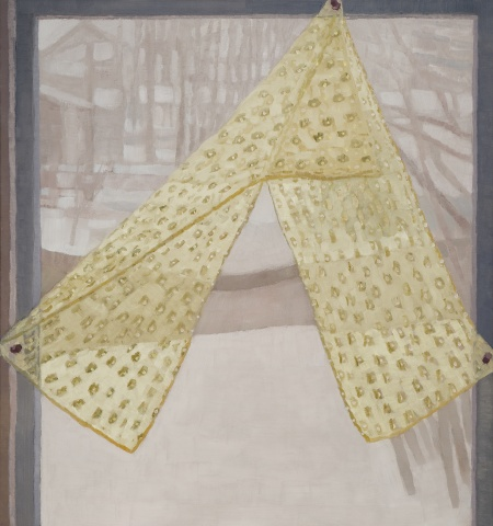 A still life painting of a window with a snowy landscape and lace scarf