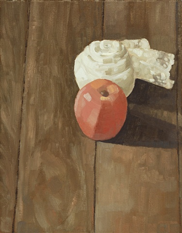 A still life painting of an apple and ball of lace on a wood floor