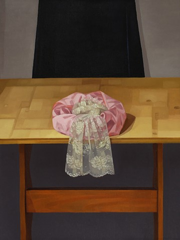 A still life painting of a length of pink satin and lace arranged in a circle on a wooden table