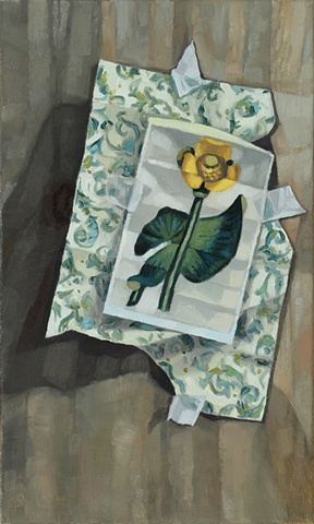 A still life painting of a piece of paper taped to a wooden board