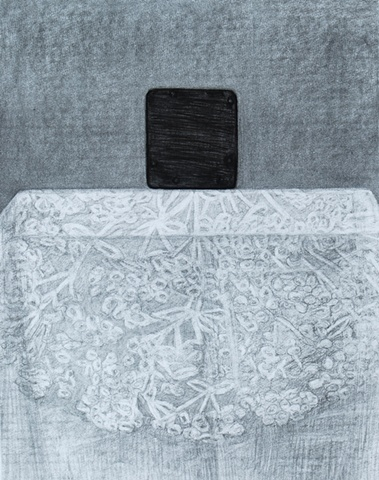 Wooden Box on Table (Drawing)
