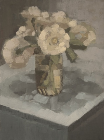 Roses on Blue Table