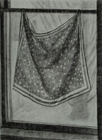 Polka Dot Cloth in Window (Drawing)
