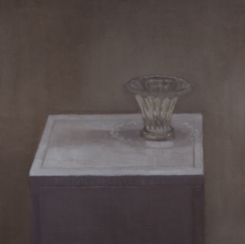 still life painting of a glass on a table in muted colors