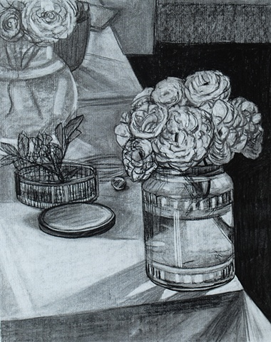 White Roses on Corner of Table