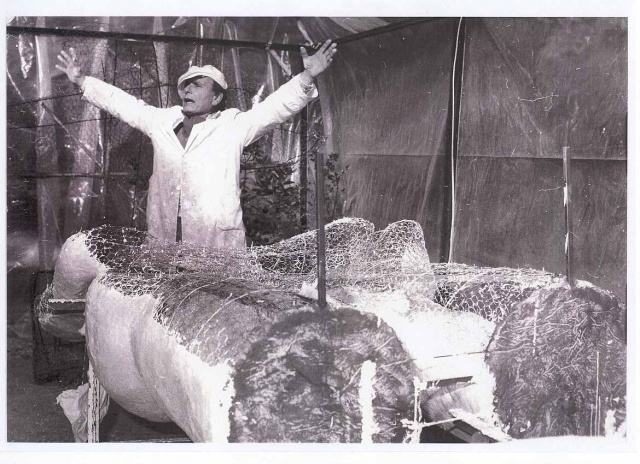NONDA at work on sculptures 1986